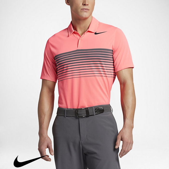 Nike Mobility Finite Speed Stripe Mens Standard Fit Golf Polo Lava Glow/Black Shirts ACEFJNO046