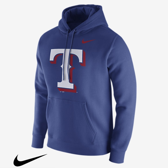 Nike Fleece Pullover (MLB Rangers) Hoodies Mens Royal Necessity DHIOQZ0456