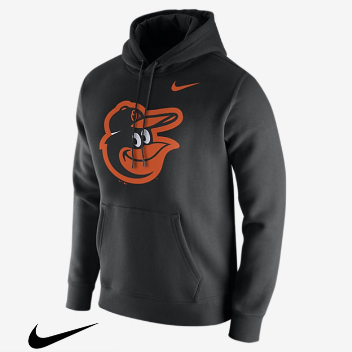 Nike Fleece Pullover Orioles) Mens (MLB Hoodies Lucky Black FILPXY1245