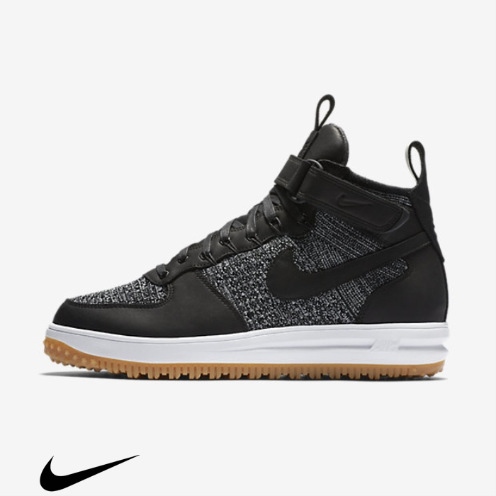Nike Lunar Force 1 Flyknit Workboot Black/Wolf Grey/Gum Brown/White Shoes Light Accrued AGIJRS0256