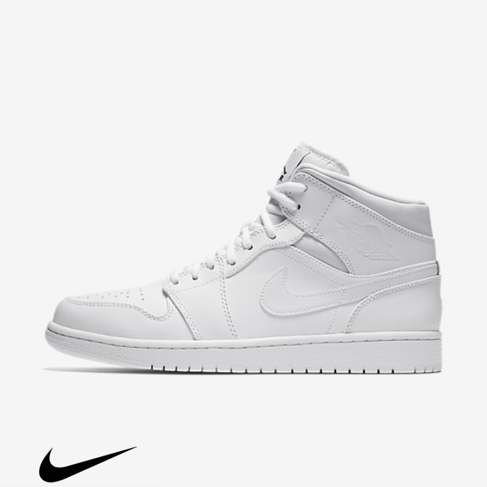 Air Jordan 1 White//Black Mid Accumulation Shoes DFJQRTV014