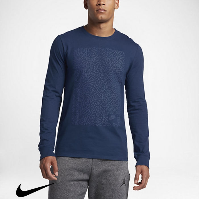 Air New Jordan 3 Mens Blue Top Coastal Long Sleeve BEGHIKOUV9