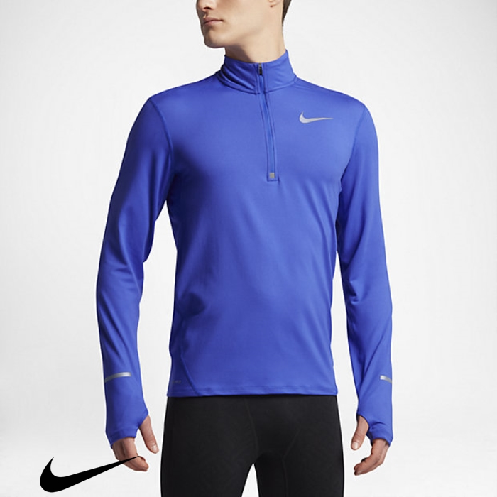 Nike Dry Element Sensible Mens Half-Zip Long Paramount Running Blue Top Sleeve BGLOSWX358