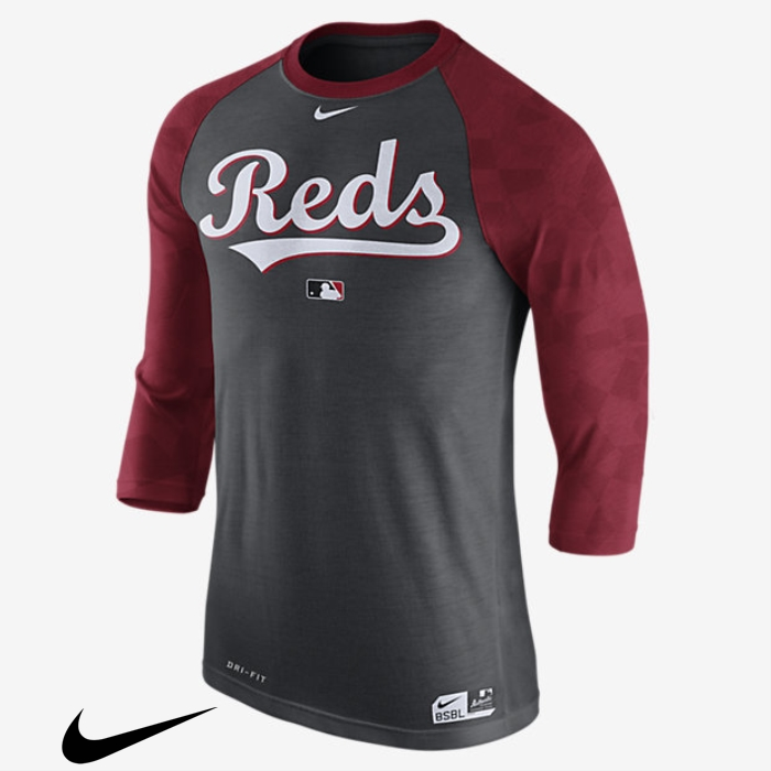 Nike Net Legend Raglan (MLB Reds) Mens Sleeve Black 3/4 Top CHIJOPSUWY