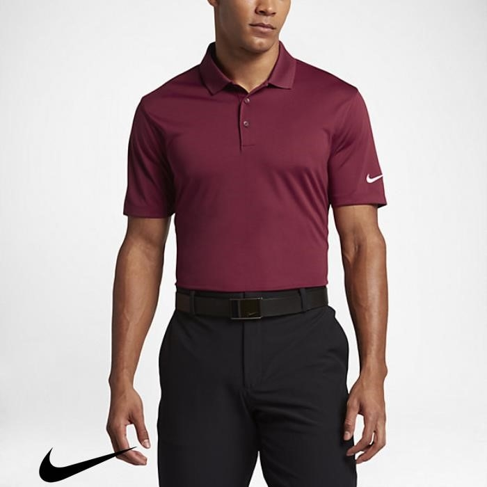 Nike Statement Victory Solid Mens Standard Fit Team Golf Maroon/White Polo Shirts ADFPSVW678