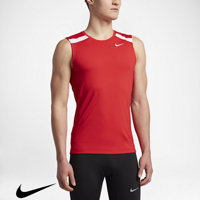 Nike Power Stock Mens Significative Running Tops Scarlet/Team Team White Tank BGILOUZ149