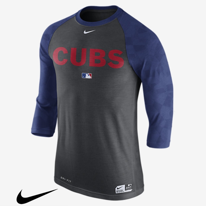 Nike Legend Raglan (MLB Cubs) Mens Heather 3/4 Charcoal Merchantable Sleeve Top ADHORSYZ19