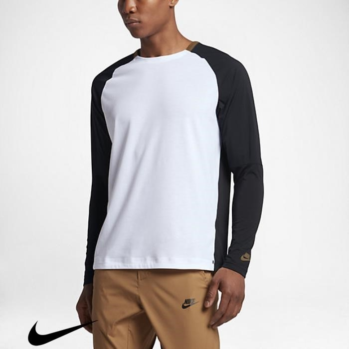 Nike Sportswear Bonded Mens Long Beige Totally White/Black/Golden Sleeve Top BCDFJMNPV1