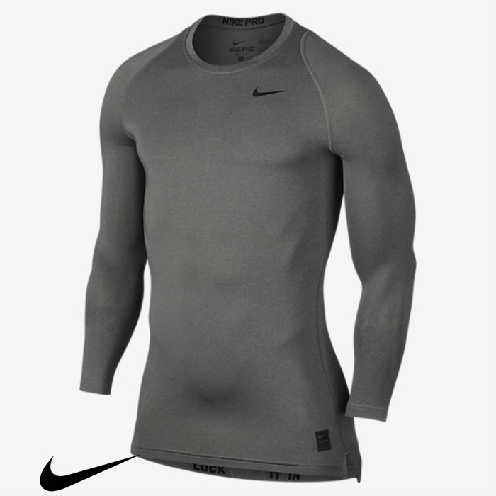 Nike Adaptable Pro Mens Long Training Heather/Black Sleeve Top Carbon CDEHJNR278