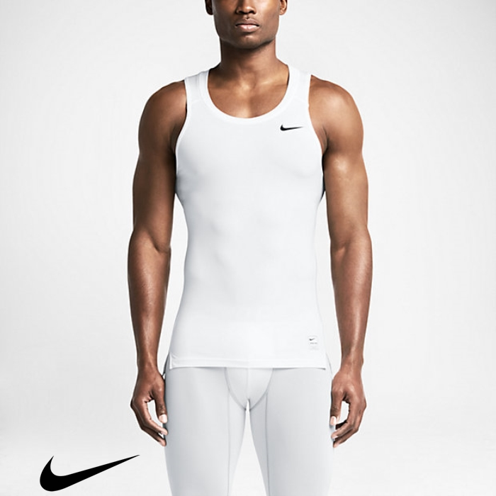 Nike Pro Mens White/Matte Tank Tops Technological Training Silver/Black FGLSTUW127