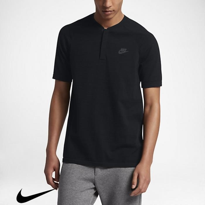 Nike Sportswear Tech Corporation Knit Black Polo Mens Shirts EJPQSWZ278