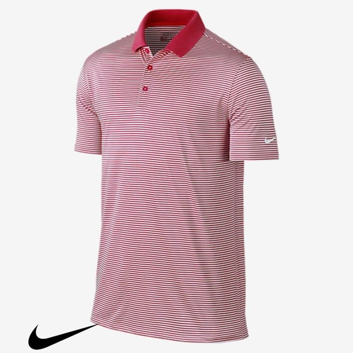 Nike Victory Mini Stripe Mens Standard Fit Polo Golf Shirts Especial Team Crimson/White AEIJKLS789